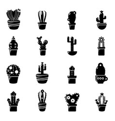 Cactus flower icons set simple style vector