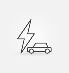 car with lightning icon - electric car vector image vector image