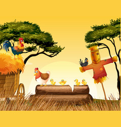 chickens and scarecrow in the field vector image vector image