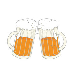 Color silhouette with foamy beer glass vector