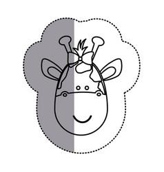 contour face giraffe ribbon bow head icon vector image