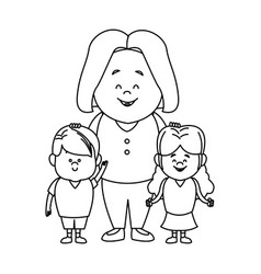 Cute cartoon of mother with two kids vector