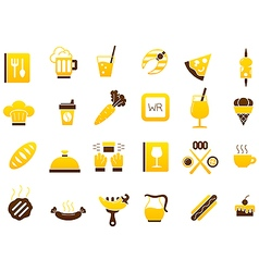 Diner yellow brown icons set vector