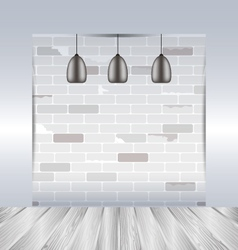 Empty room with white brick wall and wooden floor vector