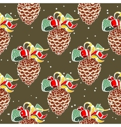 Fir cones snowy background vector