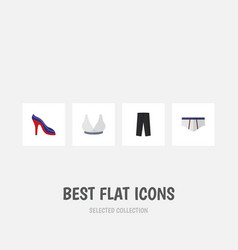 Flat icon garment set of pants heeled shoe vector