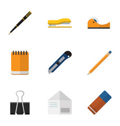 flat icon stationery set of supplies paper clip vector image