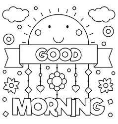 Good morning coloring page vector