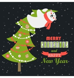 Greeting card polar bear climbed the Christmas vector image