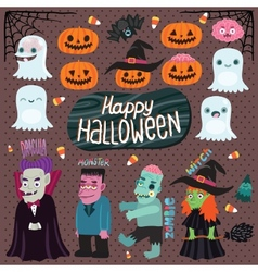 Halloween set - witch dracula monster zombie vector image
