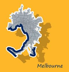 melbourne australia map in retro style sticker vector image vector image