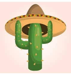 Mexican cactus character icon vector