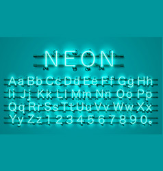 neon city color lime green font english alphabet vector image