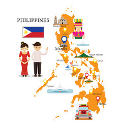 philippines map and landmarks with people in vector image
