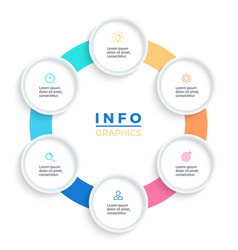 pie chart presentation template with 6 vector image vector image