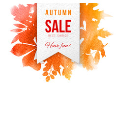 sale emblem over background with autumn leaves vector image vector image