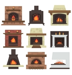 Set of home fireplaces vector
