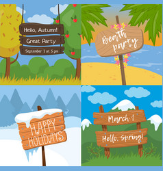 Set of various wooden signs with text wood old vector