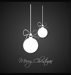 simple white christmas balls with bow vector image vector image
