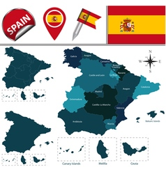 Spain map with named divisions vector