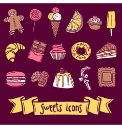 Sweet icon set vector