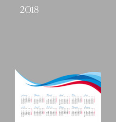 Template of 2018 calendar on gray background vector