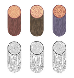 Tree rings saw cut tree trunk barrel bark natural vector
