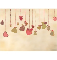 Vintage card with valentines hearts eps 8 vector