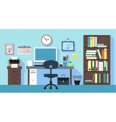 Workplace in office room vector