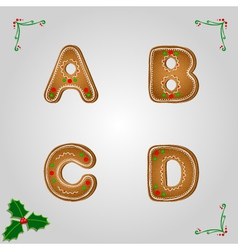 Gingerbread font a to d vector