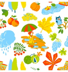 seamless pattern background with fall season vector image