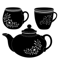 Teapot and cups silhouettes vector