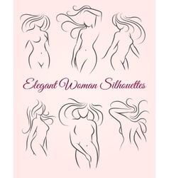 Six elegant woman silhouettes vector