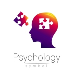 Modern head sign of psychology puzzle profile vector