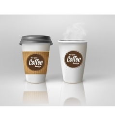 Realistic paper coffee cup set vector
