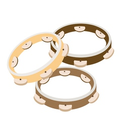 Beautiful three tambourine on a white background vector
