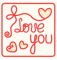 romantic greeting card with lettering i love you vector image
