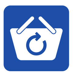 Blue white sign - shopping basket refresh icon vector