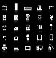 household icons with reflect on black background vector image