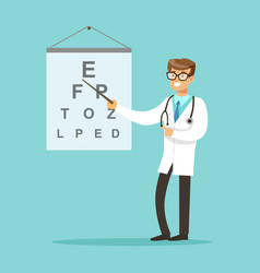 Smiling oculist or ophthalmologist doctor vector