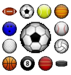 Pixel sports balls vector