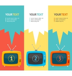 Retro tv option banner flat design vector