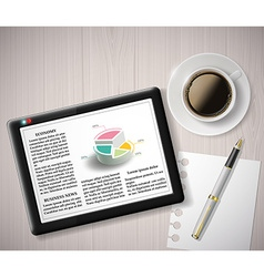 Digital tablet with info graphics and a cup of vector