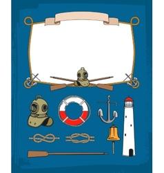 Vintage nautical rope frame decorative symbols vector