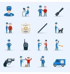 Security guard service icons set vector