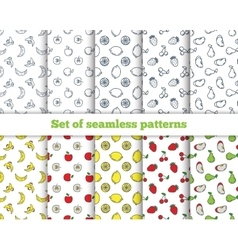Set of seamless patterns line icons fruit vector