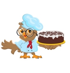 Owl chef holding cake vector