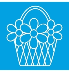 Basket with flowers thin line icon vector