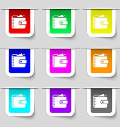 Purse icon sign set of multicolored modern labels vector