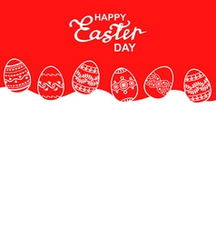easter eggs back red vector image